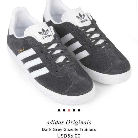 adidas Dark Grey Gazelle Trainers